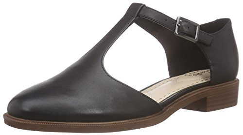 Clarks Taylor Palm, Damen T-Spangen Sandalen, Schwarz (Black Leather), 39.5 EU (6 Damen UK)
