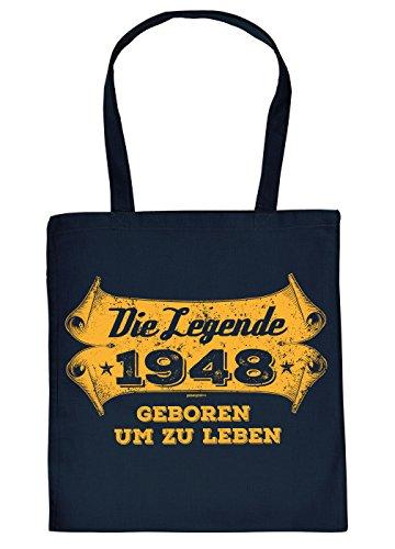 Stofftasche mit Geburtstagsmotiv: Die Legende 1948, geboren um zu Leben - Tasche - Einkaufstasche - Navyblau