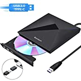 Rantom External DVD Drive,with USB 3.0 and Type-C Interface,Portable CD DVD +/-RW ROM