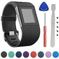 """Per Fitbit Surge, la nuova banda di sostituzione Small & Large della cinghia del braccialetto TPU di BeneStellar per gli accessori Fit Wristband Watchband (nero, grande (6.3""""-7.8""""))"""