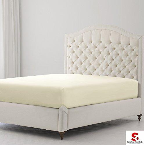 Sunshine Comfort® percal de algodón de 180hilos sábana bajera ajustable profunda de hierro para ropa de cama, algodón mixto, crema, doble