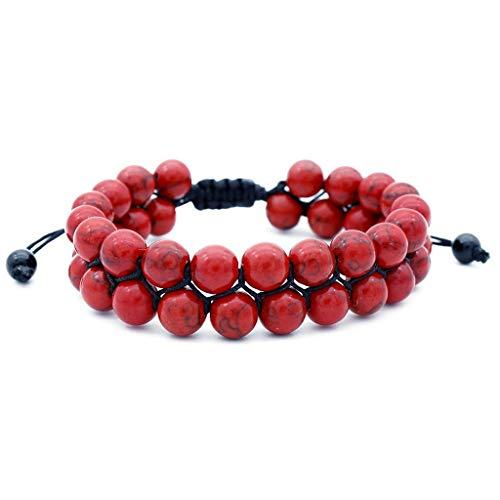 Alaso Männer Frauen Armband 8mm Lava Rock Chakra Doppel Perlen Elastischer Naturstein Achat Armreif (Verjüngt 2 Und Tunnel 1)