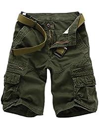 Suvimuga Hombres Casual Pantalones Cortos Cargo Belted Pantalon Corto con  Bolsillos 41f535e7c05a