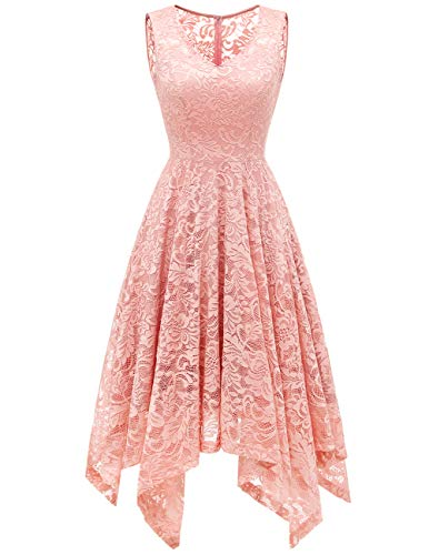 Meetjen Damen Elegant Spitzenkleid V-Ausschnitt Unregelmässiger Asymmetrischer Saum Festliches Kleid Cocktail Abendkleid Blush S -