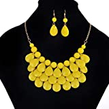 Schmuck-Set Lätzchen-Choker Statement-Halskette Ohrringe von Mingfa Fashion Kristall-Anhänger für Frauen Mädchen modisch gelb