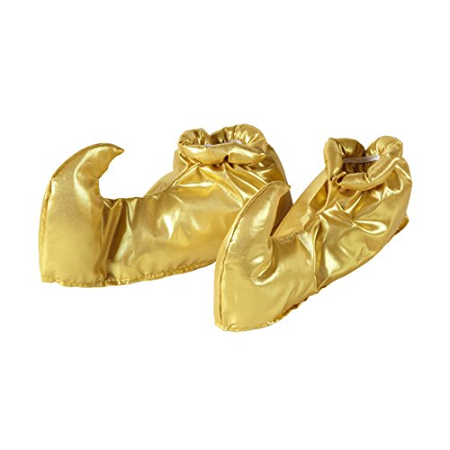 Amakando Aladin Schuhüberzieher Goldene Orient Überschuhe Flaschengeist Elfenschuhe Sultan Schuhstulpen Orientalisches Kostüm Zubehör Jeanie Haremsdame Schuh - Sultan Kostüm Schuhe