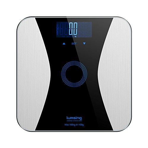 Lumsing grasa corporal-Báscula digital Peso de personas con Slim Diseño para medir Peso BMI grasa Agua Músculos Masa ósea Bmr Negro