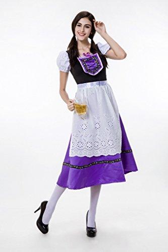 Smile YKK Cosplay Déguisement de Bière Serveur Maid Costume Halloween Femme Violet Blanc