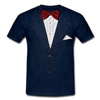 Anzug mit Fliege Männer T-Shirt von Spreadshirt®, S, Navy