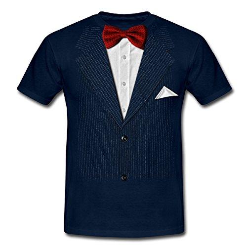 Anzug Mit Fliege Scherz Männer T-Shirt, XL, Navy (Kostüme Smoking)