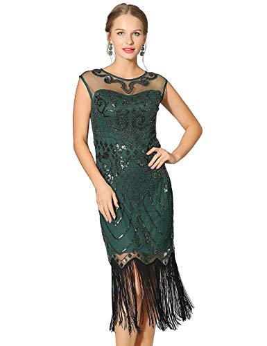 en Wulstige Art Deco-Spitze Kleider für 20s Cooktail Partei fransen-Kleid groß grün ()