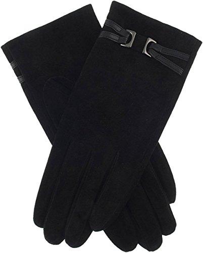 Schwarze Julia Wildleder Gunmetal Strap Handschuh - Mittelgroß von Dents (Gunmetal-schwarz Handschuh)