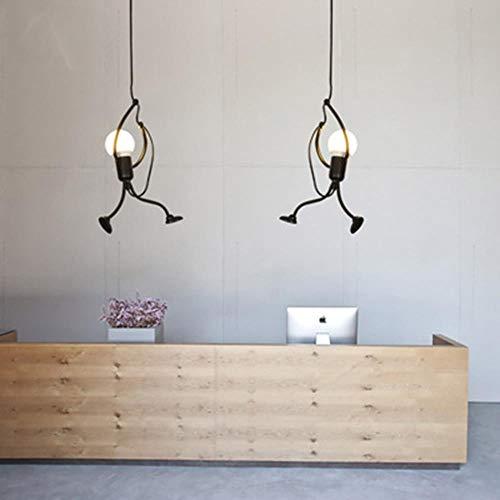 Moderno Creativo en el mostrador de recepción Arte Dibujos animados Deco Luces colgantes LED Lámpara colgante de hierro Iluminación del restaurante Hogar Lámpara colgante Luminaria, 1 cabezas