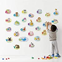 TCCSR Wall Sticker Cartoon Animals 26 Letters Wall Stickers For Kids Rooms Decor 60 * 90Cm Wall Decals Pvc