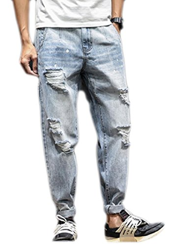Tootlessly-Men Pocket Plus Size Elasticity Baggy All-Match Jean Shorts