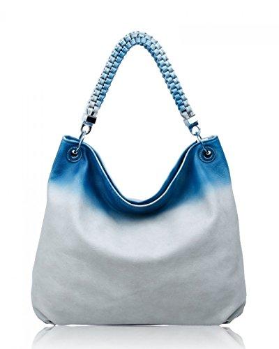 LeahWard schönes Qualität Schultertasche Taschen für Frau Kunstleder Damen Handtaschen Tasche 160422 C-Ash Grau
