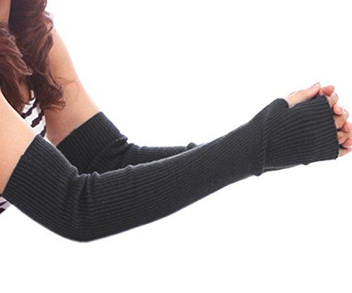HITOP 50cm Damen vertikalen Streifen kontrahierten Trendige gestrickte Armstulpen Fein strick lang Pulswärmer Handwärmer Stulpen Mit dem Finger Löcher (1) (Knit-streifen-stulpen)