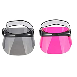 Toygogo 2 Stücke Sonnenblende Hüte Frauen Große Krempe Sommer UV Schutz Strandkappe Für Outdoor Sports Camping Wandern Angeln