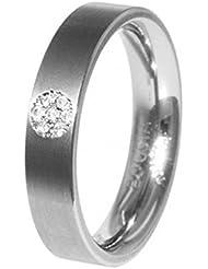Boccia Damen-Ring Titanium Titan Diamant (0.035 ct) transparent Brillantschliff - 0121-05