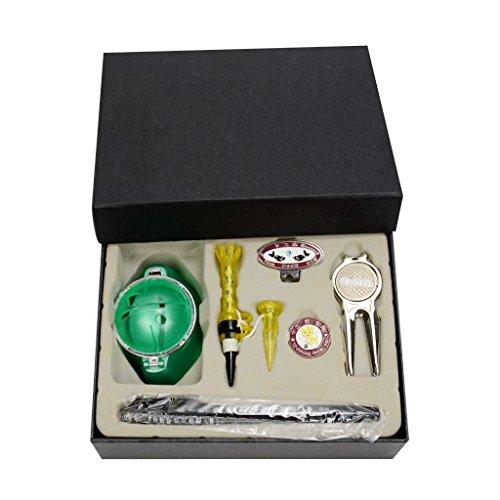 MagiDeal Golf Geschenkset Box Golfball Liner mit Stift, Golf Tees, Golf Pitchgabel mit Magnetisch Ballmarker, Golfball Marker, Golf Cap Clip Set