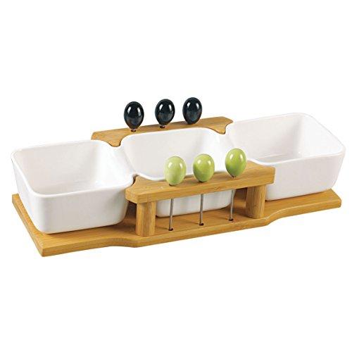 3er Schale auf Holz mit Spießen für Oliven etc.