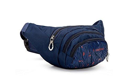 wewod Spalla Messenger bag/Sport marsupio/capacità a 3tasche Cintura Borsa per sport all' aperto, Gr¨¹n Blu profondo