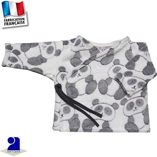 d4664f36cb8a Poussin bleu - Gilet-brassière polaire imprimé Panda 0-3 mois Made In France