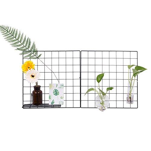 Design-Wandgitter zum Aufhängen | Moodboard | Gitterwand | Dekogitter | Draht | Netz | Rack | Mesh | Memo Board | Wandhalterung | Wand-Organizer | Fotowand | 40 x 40 cm (Schwarz)