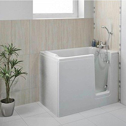 Badewanne 121×65 HODEEP – Acryl, mit Tür, Rechts