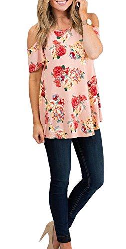 Damenmode Sommer Ausschnitt Schulter-Blumen-Druck-lose beiläufige Hemd-Bluse T-Shirt Rosa