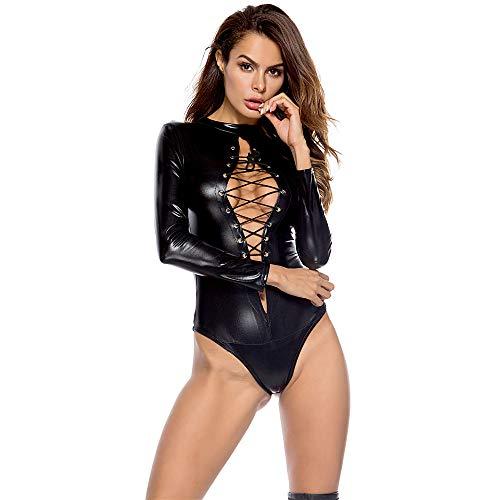 AMhomely Sexy Frauen PU Leder Dessous Bodysuits Erotische Trikot Kostüme Gummi Flexible Hot Latex Catsuit Catwomen Kostüm (Black, XXXL) (Body Black Spandex Catsuit Womens)