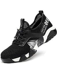 YHHF Calzado de Seguridad, Punta de Acero Zapatos de Seguridad Unisex Antideslizante Calzado de Trabajo