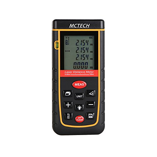 MCTECH Laser Telemetro Misuratore Portatile di Distanza Laser Digital Distance Meter Misuratore Misurare Per le Distanze e calcolano Superfici Volumi Spigoli Angoli A Type (80M) - Golf Distanza Finder