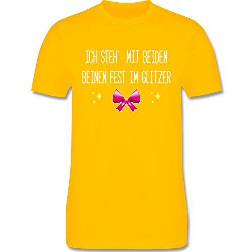 Statement Shirts - Ich steh' mit beiden Beinen fest im Glitzer - Herren Premium T-Shirt Gelb