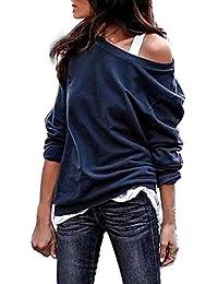ff79dd0dca61 Doublehero Damen Off-Shoulder Asymmetrisch Jumper Sweatshirt Einfarbig  Lässige Pullover Bluse Oberteile Oversize Tops Herbst
