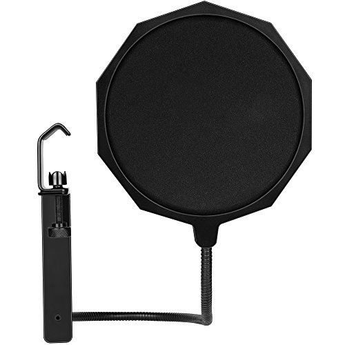 BC Master Pop Filter Runde Form für Blue Yeti Blue Snowball usw. mit Metall Clamp Stand Clip Wind Screen für Studio Mikrofon Aufnahme Pure Sound Durable Material (PF15P 17.2cm)