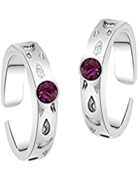 Oviya Rhodium Plated Pink Solitaire Toe Rings with Crystal Stone for girls and women TR2101009RPin