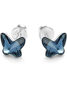 butterfly Mädchen Silber Ohrstecker Sterlingsilber 925 blau Swarovski Elements original Schmetterling Geschenkverpackung...