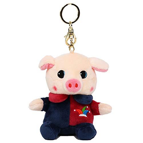 AchidistviQ süßes weiches Plüsch-Spielzeug Duft, Cartoon-Schwein-Anhänger Schlüsselanhänger Schlüsselanhänger, Schlüsselanhänger, Geschenk, Duft, Clownschwein-Schlüsselanhänger, Plüsch, Multi