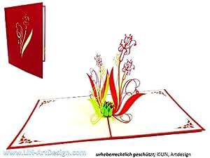LIN - Biglietto tridimensionale pop-up di auguri o ringraziamenti, soggetto: mazzo di fiori