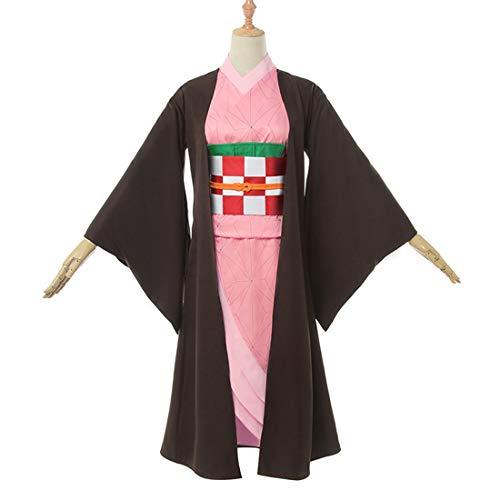 YKJ Neue Anime Black Jacket und Pink Kimono Killer Cosplay Frauen Kimono Kostüm Cosplay Kostüm, Full Set-S (Neue Halloween-requisiten 2019)