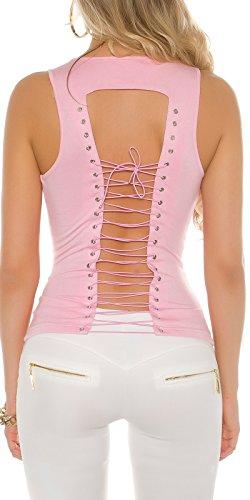 KouCla Top mit Ösen und Schnürung - Schulterfreies Damen Top Shirt Rundhals Farbauswahl 34-38 Rosa