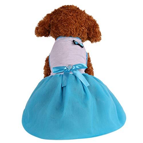 YWLINK Haustier Einfarbig Party Kleid FrüHling Und Sommer Atmungsaktiver DüNner Rock Prinzessin Hund Kleidung Haustier Retro(Blau,M)