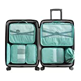 WOWTOY 7 Sets Packing Cubes, Travel Packing Pouches Luggage Organizer Pouch -3 Packing Cubes + 2 Pouches+ 1 Underwear Pouch + 1 Shoes Bag (Green)