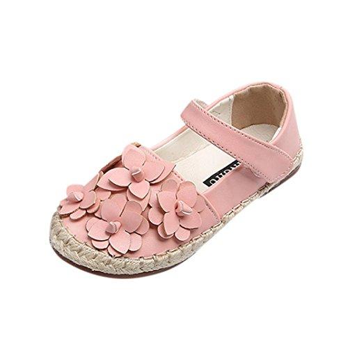 12shage Baby-Blumen-beiläufige Schuhe niedliche Schuhe für Baby-Mädchen (Size:24, Rosa)