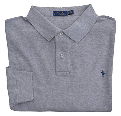 Ralph Lauren Big & Tall Poloshirt Langarm Classic Polo Grau Grey Heather (5XB) (Tall Poloshirt Herren Big)