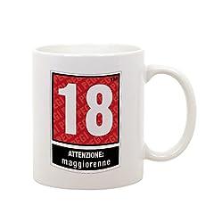 Idea Regalo - bubbleshirt Tazza Mug in Ceramica Compleanno - 18 Anni - attenzione maggiorenne - Idea Regalo