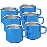 King International 100% Stainless Steel Blue Double Wall Heavy Cappuccino Mug | Coffee Mug| 225ml,Set Of 6 Pieces|