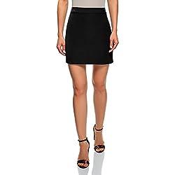 oodji Ultra Mujer Falda Corta con Acabado de Piel Sintética, Negro, ES 34 / XXS