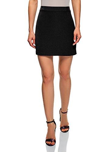 oodji Ultra Mujer Falda Corta con Acabado de Piel Sintética, Negro, ES 38 / S